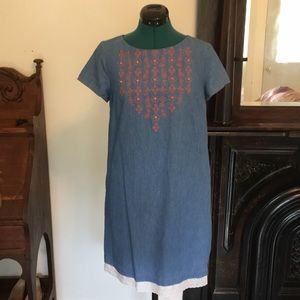 ModCloth blue embroidered cute dress